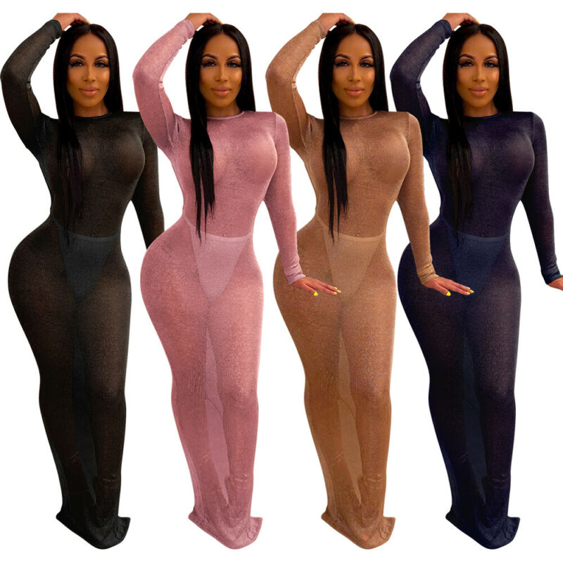 Sexy New Women Fish Net Slim Long Dress Beach Cover-Ups Mesh Sheer See Through Maxi Dress Slim Bodycon Cover-Up Beachwear 5