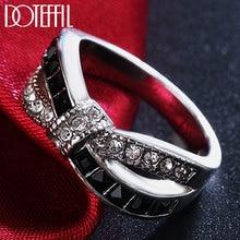 DOTEFFIL 925 Sterling Silber Schwarz/Rot/Blau Kristall Sechs Farben AAA Zirkon Ring Für Frauen Mode Hochzeit Party charme Schmuck