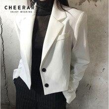 Cheerart Crop White Blazers And Jackets Button Korean Short Blazer Women Black Ladies Coat 2019 Fall Designer Fashion