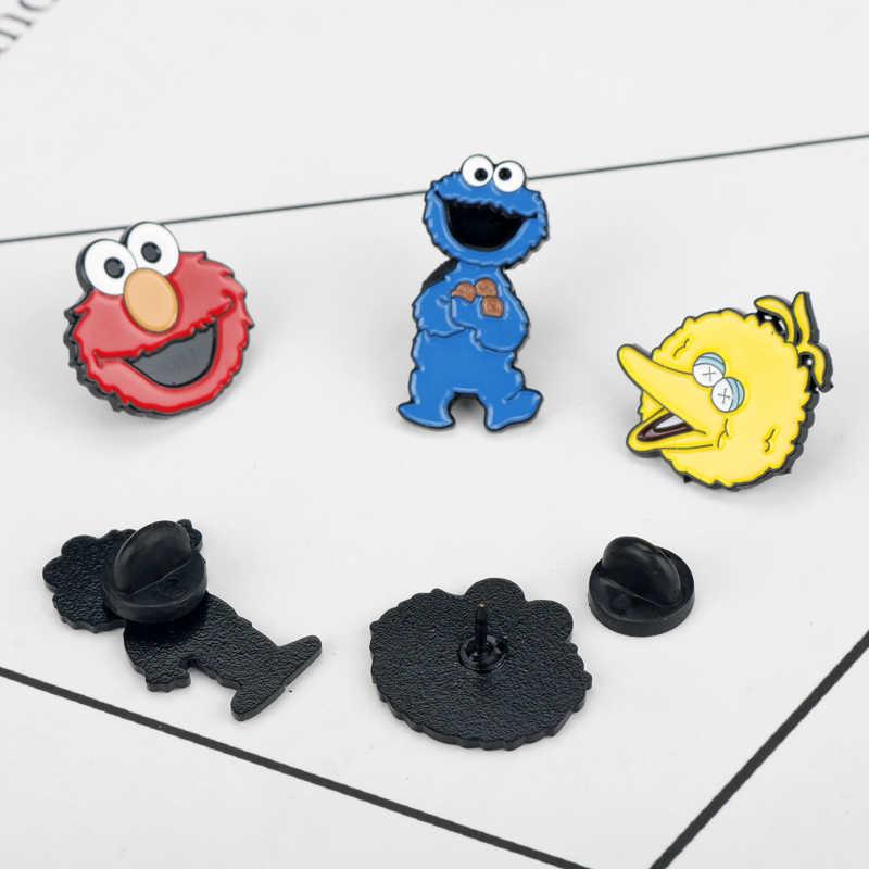 Broche Dos Desenhos Animados Sesame Street ELMO e COOKIE MONSTER Liga Esmalte Broches & Pinos Linda Jóia Sacos De Pano Chapéus Emblema Do Pin