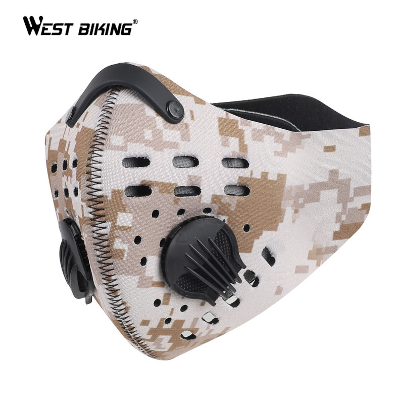 WEST BIKING Sport Face Mask With Activated Carbon Filter PM 2.5 Anti Pollution MTB Bike Training 95 Mask Anti Smog Cycling Mask