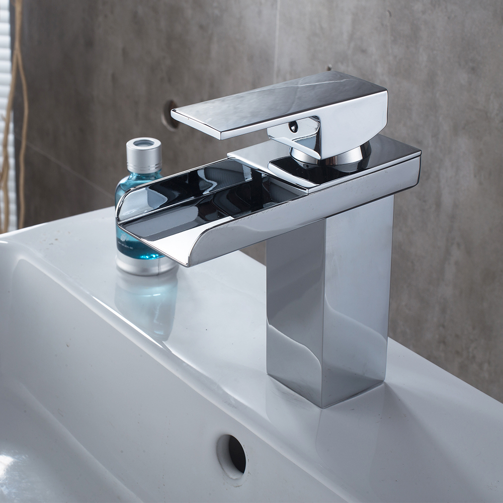 bathroom faucet waterfall faucet hand washing faucet chrome low profile washbasin wash basin mixing valve copper faucet