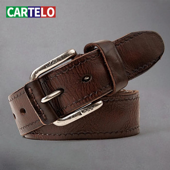 CARTELO New mens belt fashion personality leather head layer cowhide men casual alloy pin buckle