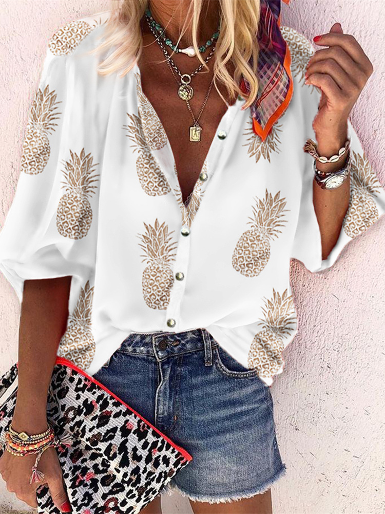 2019 Autumn Women Elegant Vacation Leisure Shirt Female Stylish Basic Top Chain Leopard Pineapple Print Buttoned Casual Blouse