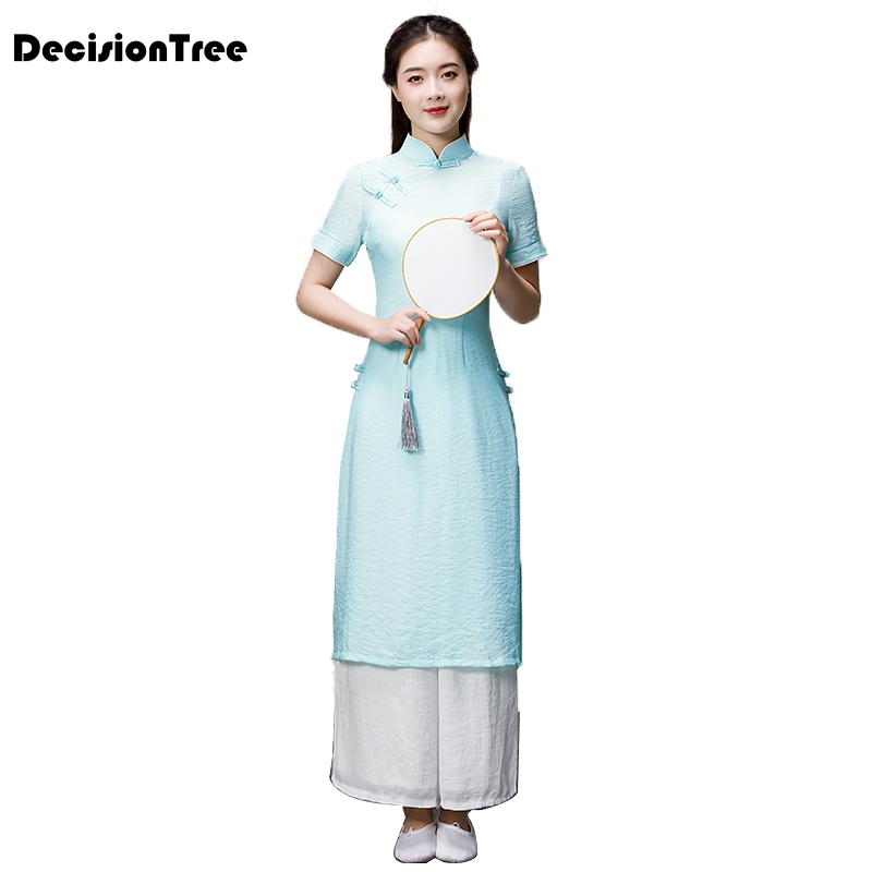 2020 Woman Solid Vietnam Clothing Vintage Clothing Ao Dai Dress Vietnam Costumes Improved Embroidery Aodai
