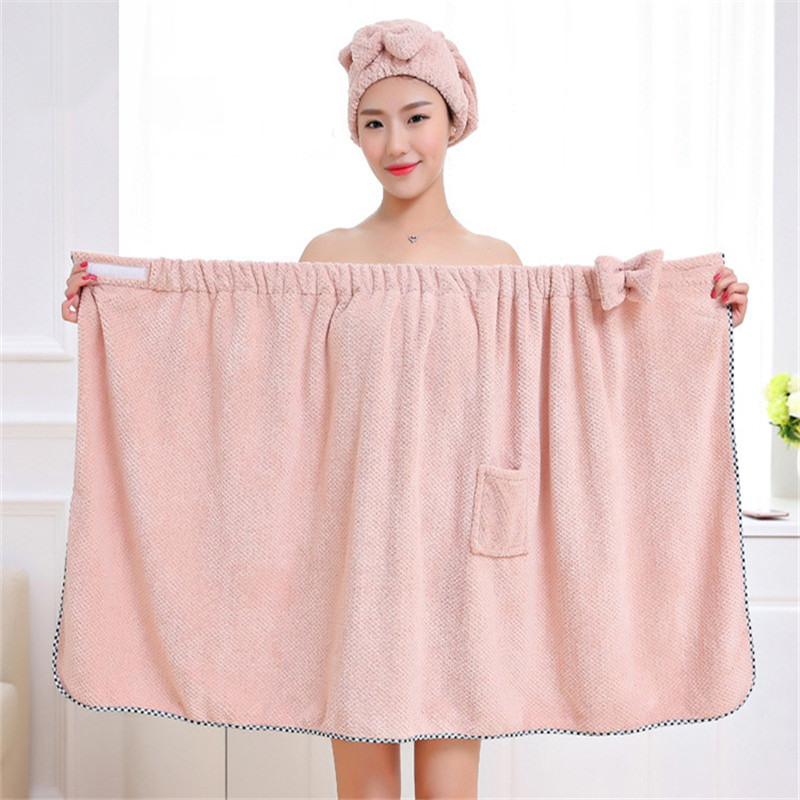 Magic Wearable Bowknot Lady Bath Towel With Pocket Microfiber Towel Set For Gifts Hair Drying Cap Hat Head Towel Spa Beach Towel