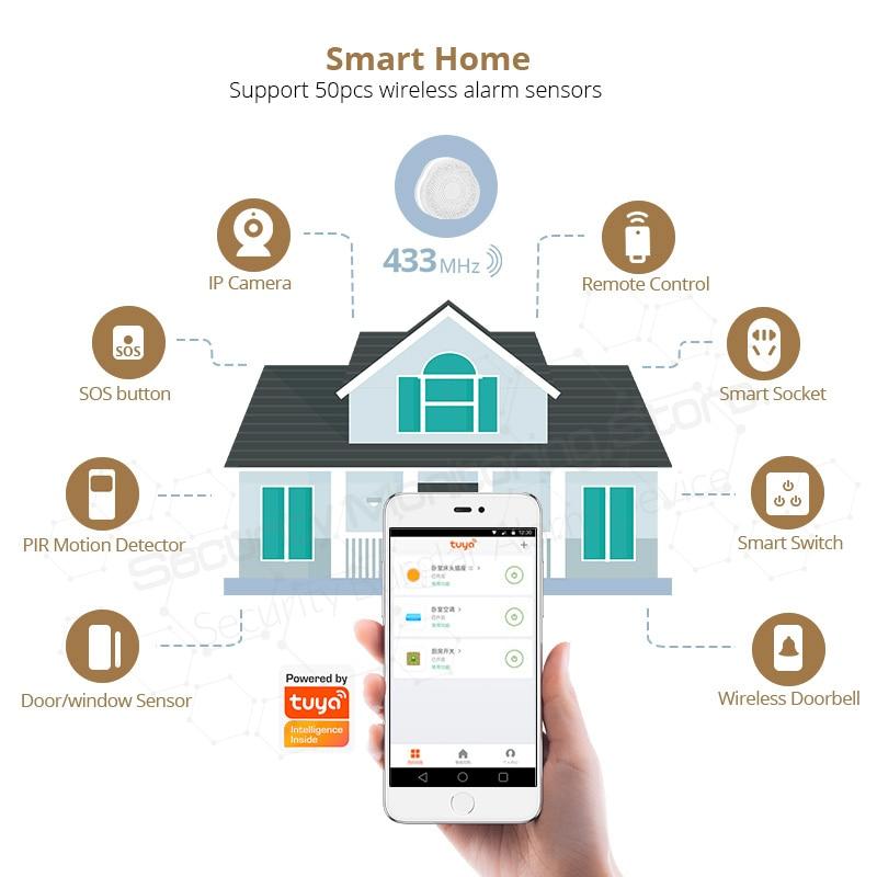 KERUI Tuya wielofunkcyjna brama pracy z asystent google/Alexa sterowania WIFI bezpieczeństwo w domu inteligentny inteligentny alarm System