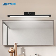 LUCKYLED Lámpara Led moderna para espejo de baño, Vintage de 12w y 55cm lámpara de pared, accesorios de iluminación para tocador, aplique de pared, color negro y plateado