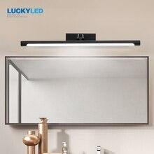 LUCKYLED מודרני Led אמבטיה מנורת מראה אור 12w 55cm בציר מנורת קיר שחור כסף יהירות אור גופי פמוט קיר אור