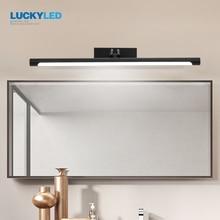 LUCKYLED lámpara Led moderna de baño, luz de espejo 12w 55cm, lámpara de pared vintage, accesorios de iluminación de vanidad de plata negra, aplique de pared