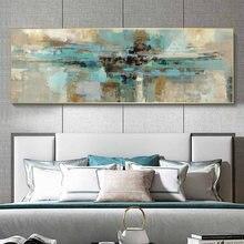 Tela abstrata moderna turquesa de tamanho grande, pintura de cor abstrata na parede, posteres e impressões, grafite, imagens de arte para cama quarto