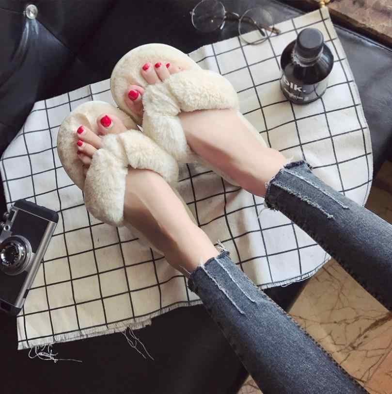 Новинка 2019 года; сезон осень; Повседневные Удобные женские тапочки на плоской подошве с круглым носком; теплые плюшевые шлепанцы
