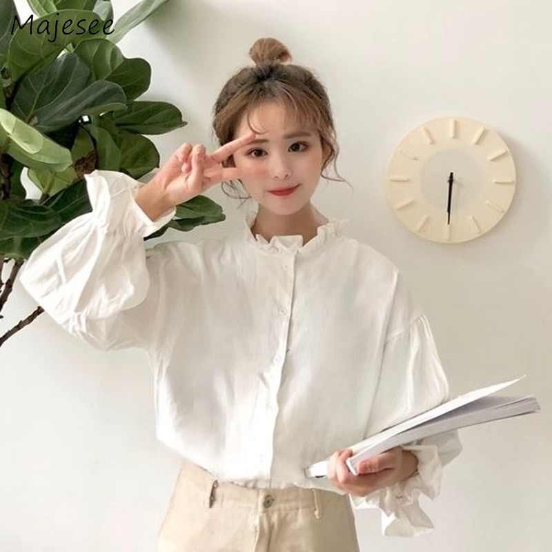 Witte Blouse Vrouwen Shirts Harajuku Kleding Womens Tops en Blouses Alle Match Flare Mouw Koreaanse Stijl Nieuwe Mode Ulzzang Chic