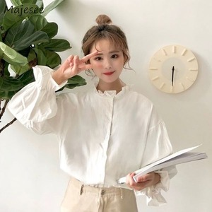 White Blouse Women Shirts Harajuku Clothes Womens Tops and Blouses All Match Flare Sleeve Korean Style New Fashion Ulzzang Chic