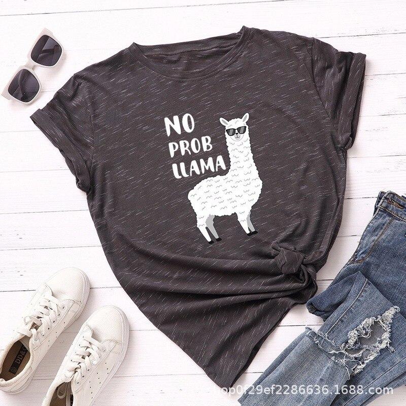 Summer Women T-Shirt Plus Size 5XL Cotton Cute Alpaca Animal Print Female Short Sleeve Tshirts Casual Woman Tops Basic Tees