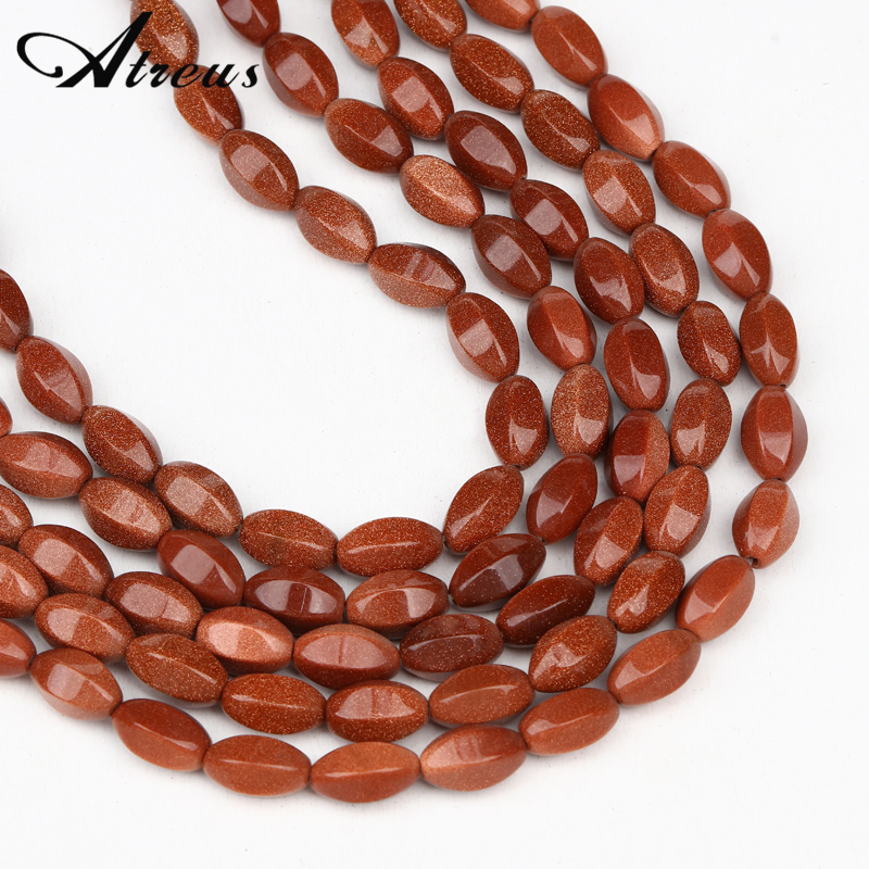 8x15mm Red Gold Sand Natural Stone <font><b>Beads</b></font> Oval Shape Faceted <font><b>Bulk</b></font> Spacer Loose <font><b>Beads</b></font> For Jewelry Making DIY Beaded Bracelet image