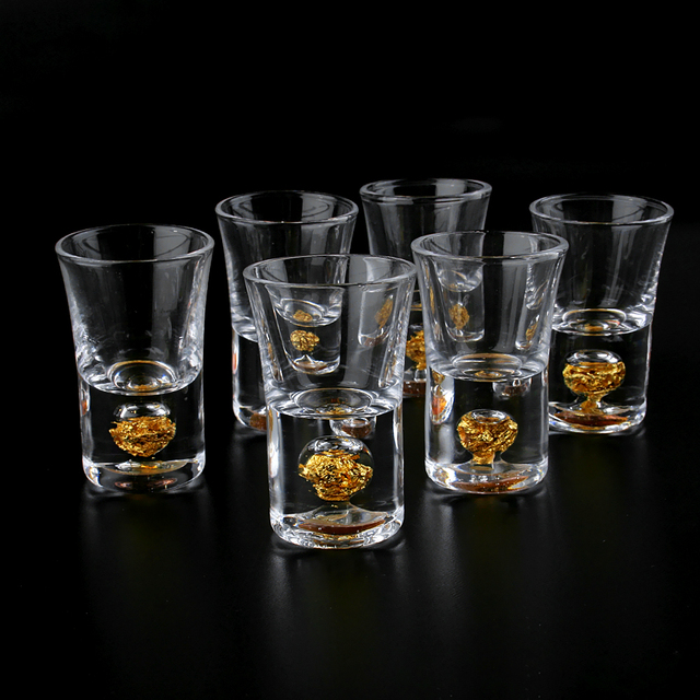 2PCS Mug Crystal Cup Shot Glass Cup Creative High Spirits White Wine Glass Cup Glasses Party Drinking Creative Gold Bottom Cup