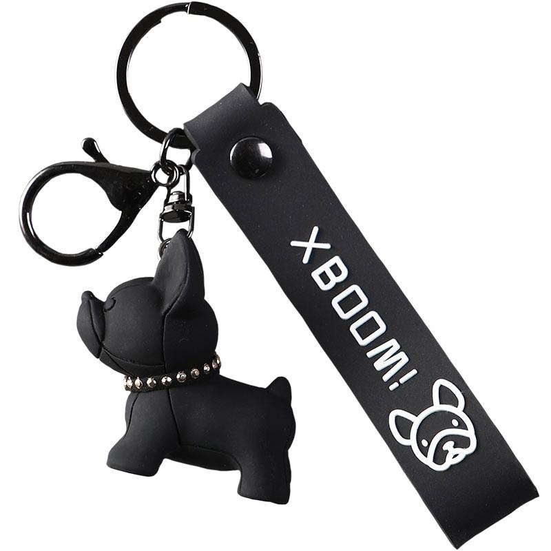 French Bulldog Keychain PU Leather Dog Xmas Animal Keychains for Women Bag Pendant Jewelry Car Key Ring Key Chain Lobster Clasp