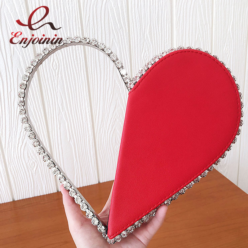 Luxury Heart-shaped Diamond Leather Women Party Clutch Bag Purses and Handbags Evening Bag Female 2020 Designer Bags Wedding Bag
