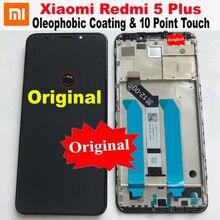 オリジナル最高xiaomi redmi 5プラスips液晶ディスプレイ10点タッチスクリーンデジタイザアセンブリセンサー + フレームRedmi5プラスMEG7ガラス