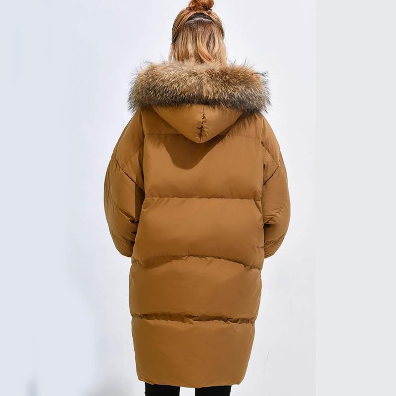White Jackets Women's Duck Down Jacket Korean Long Coat Women Big Racoon Fur Hood Loose Puffer Coats Female Parka KJ732 S