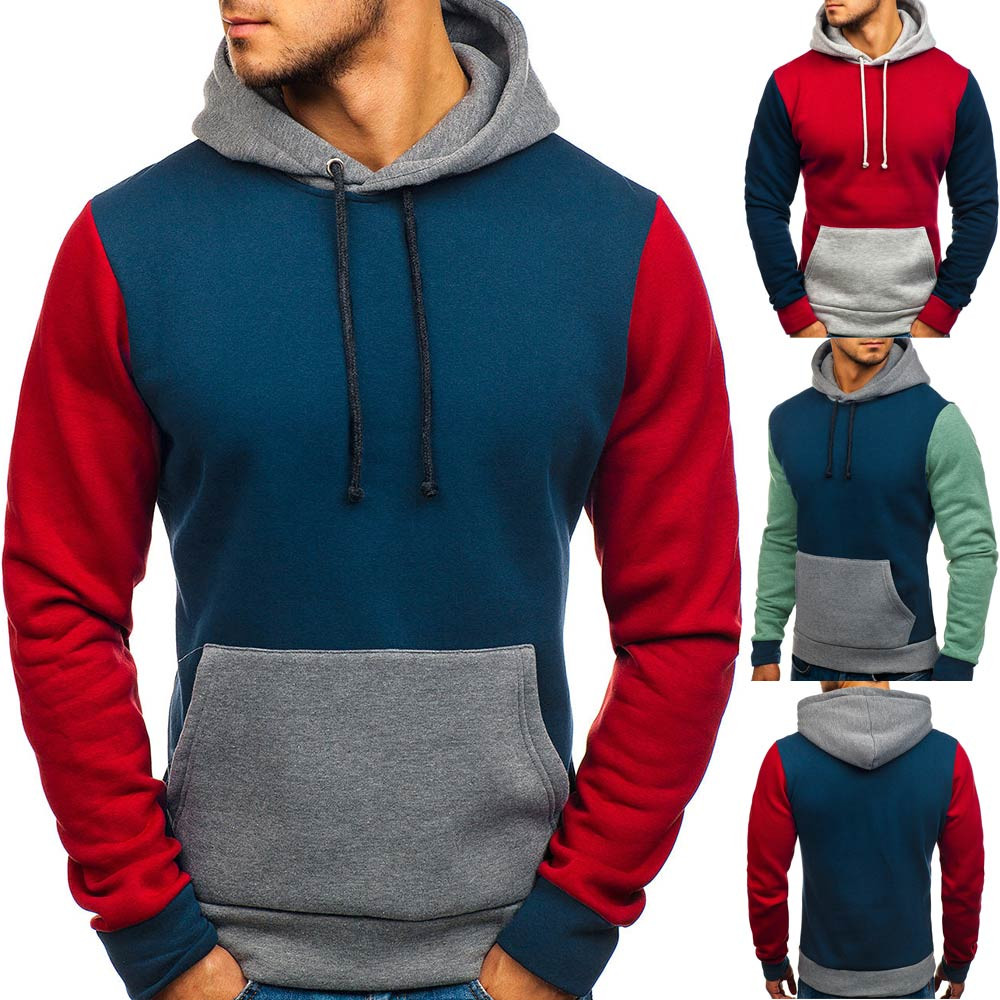 Sweatshirt Mens Splicing Button Pullover Long Sleeve Hooded Patchwork Sweatshirts Tops Blouse Stranger Things Hoodies for Male
