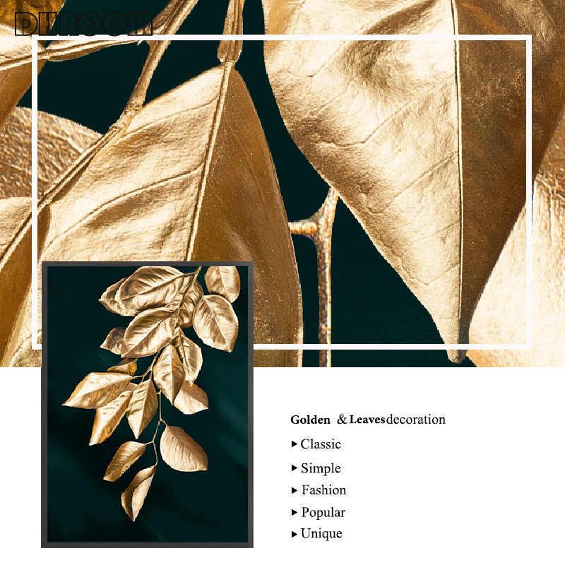 Абстрактный настенный постер с золотыми листьями, Картина на холсте в современном стиле, украшение для гостиной, домашний декор