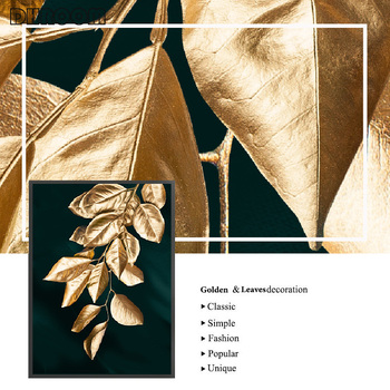 Abstract golden plant leaves wall
