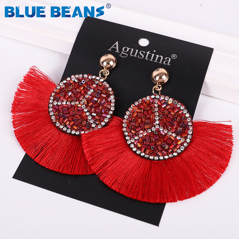 He77dd22395b54a22a96e9aa2ecb6fedf8 - Tassel Earrings Women Punk Earings Fashion Jewelry Hanging Crystal Star Girls Earring Drop Dangle Long Boho Set  Luxury Handmade