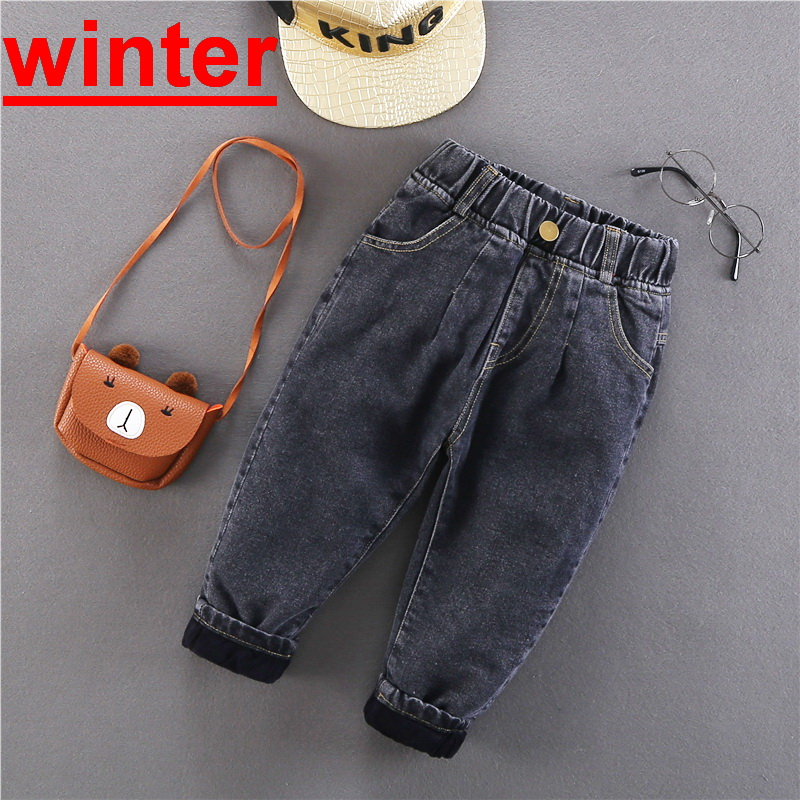 2020 Winter Baby Boys Warm Jeans New Casual Thick Velvet Denim Pants for Boys 2-6 Years Children's Thickening Jeans Trousers 1