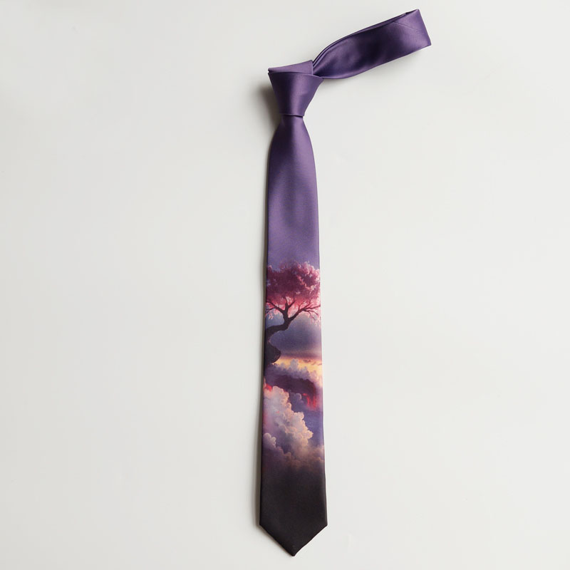Free Shipping New Men's Male Fashion Female Original Design Purple Peach Blossom Wonderland Gradient Textured Print Tie Necktie