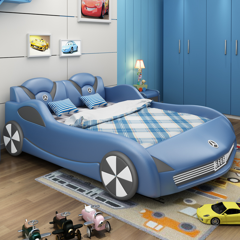 Children's Car Bed Boy Girl Single Bed Car Type Multifunctional Sports Car Leather Bed With Guardrail Modern Minimalist