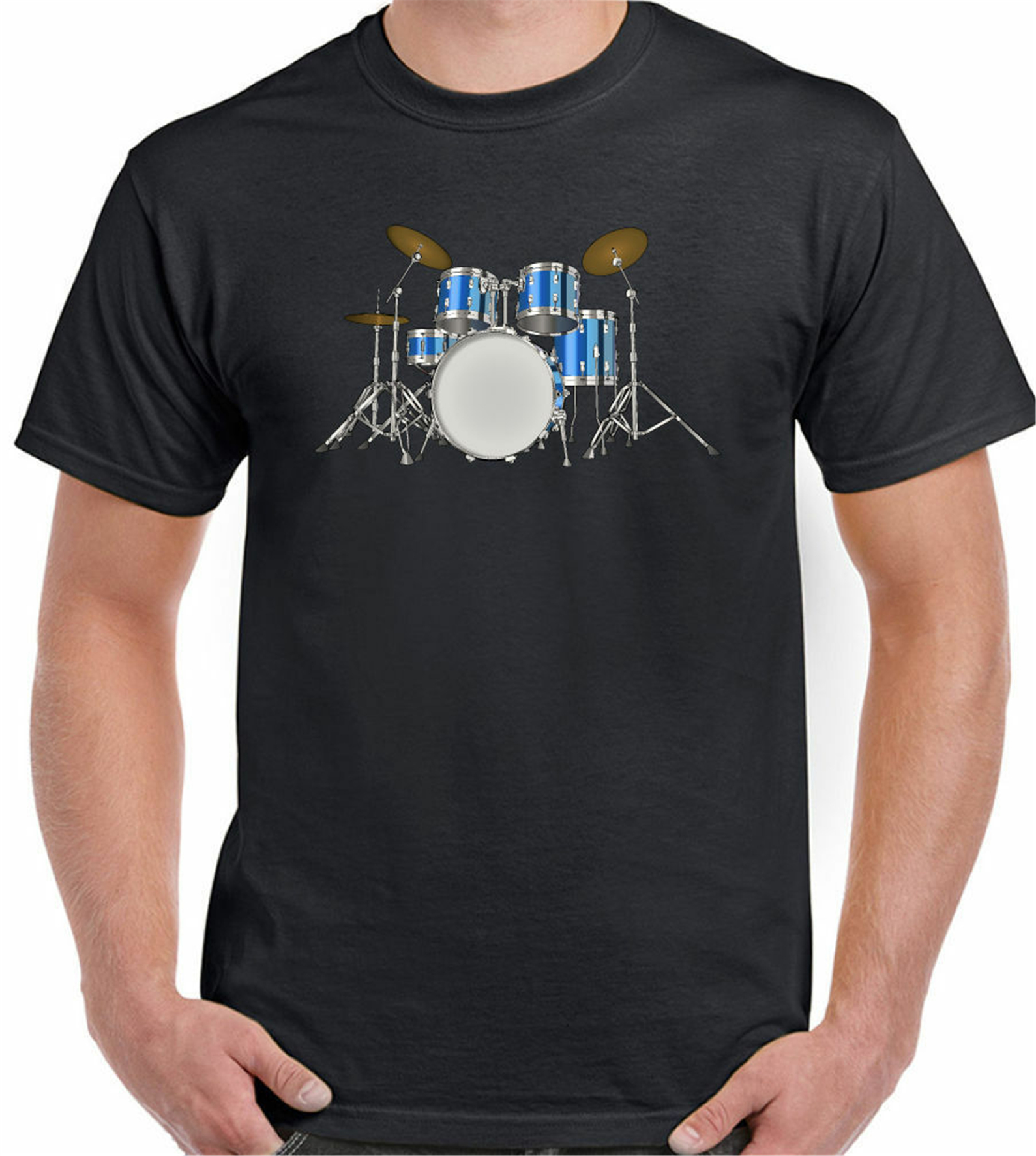 Drum Kit T-Shirt Mens Drumming Rock Drummer Band Keith Moon Sticks Coloured customize O Neck Tops Tee Shirt image