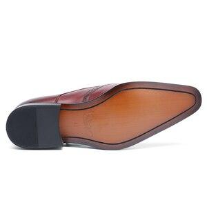 Image 4 - FELIX CHU yüksek kalite hakiki deri erkek resmi ayakkabı parti sivri burun şık düğün bordo siyah keşiş kemerli elbise ayakkabı