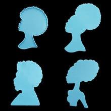 4 style błyszczący dziewczyna z Afro Coaster silikonowe formy człowiek twarzy żywica Coaster formy do DIY epoksydowe rzemiosło żywiczne dekorowanie domu narzędzia
