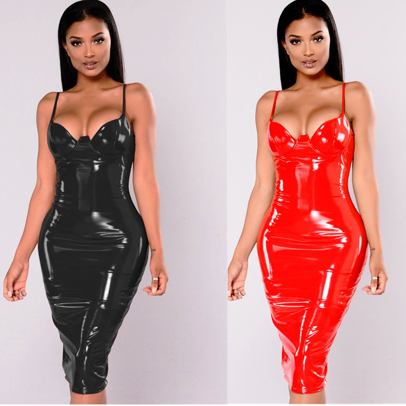 4XL 5XL 6XL Plus Size Dress 2017 Sexy Winter PVC Wet Look Leather Dresses Women Red Black Knee Length Zipper Black Club Dress image