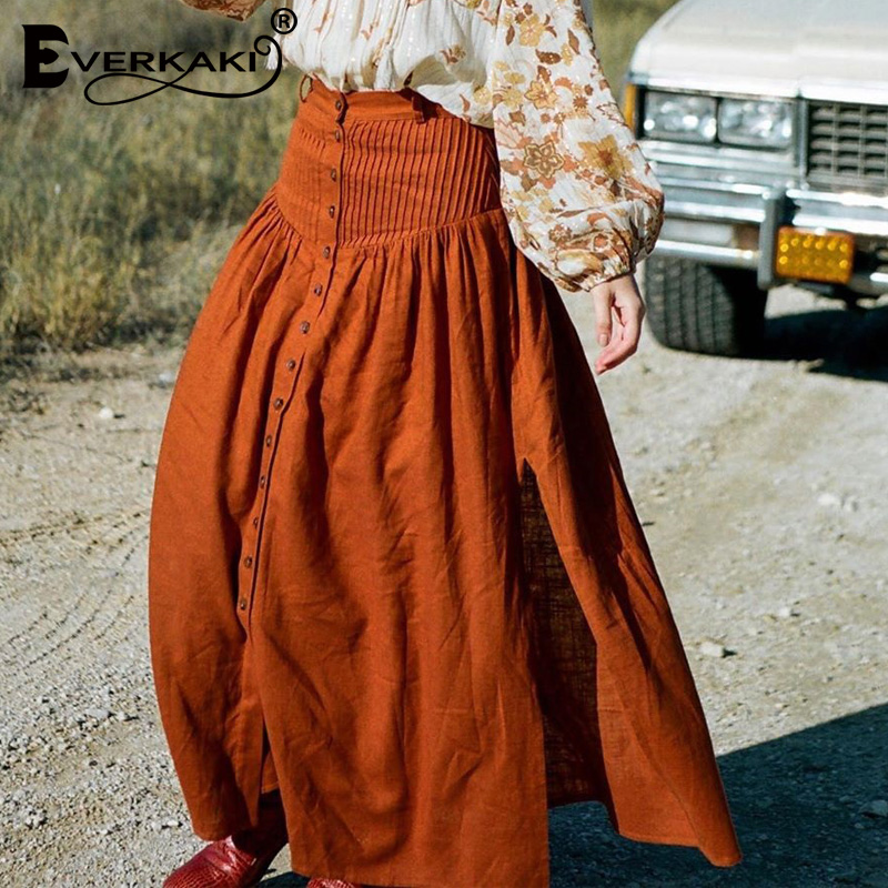 Everkaki Boho Long Skirts Women Bottoms Elastic Waist Buttons Gypsy Elegant Ladies Skirt Female 2020 Spring Summer New Fashion