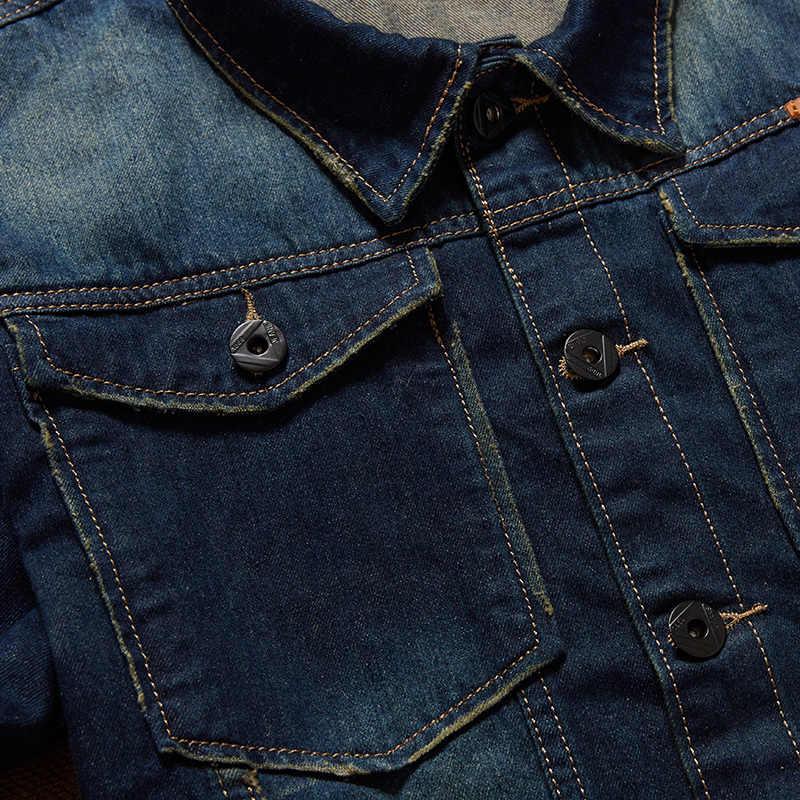 Neue klassische denim jacke männer marke kleidung 100% baumwolle casual männer jean jacke dunkelblau solide coat männlich plus größe 8XL 7XL 6XL