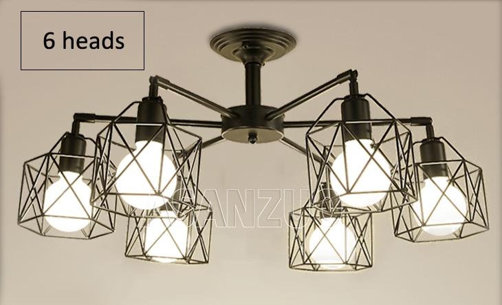 He77e309fc86c4183940789723049336cQ Modern Black Chandelier Lighting American Iron Cage Ceiling Lamp Light Fixtures Kitchen luminiare Bedroom Living Room Home Light