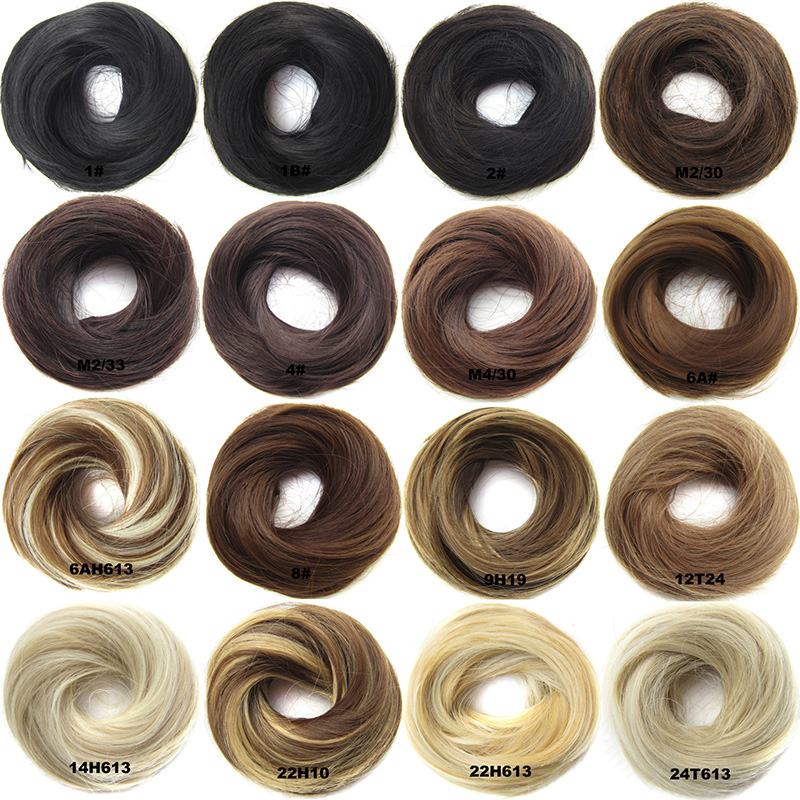 WEILAI Girls Rubber Band Straight Scrunchie Brown Blonde Donut Chignon Wrap Hair Ring High Temperature Synthetic Hair Pieces