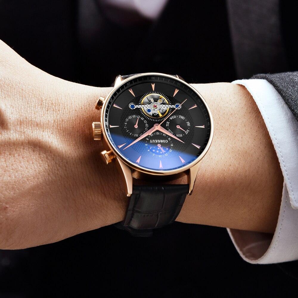 Corgeut esqueleto mecânico automático relógio masculino esporte topo marca de luxo lua fase relógios ouro rosa couro hombre pulso relógios - 2