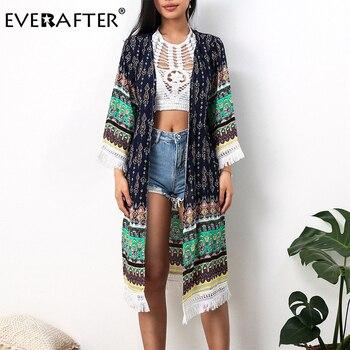 EVERAFTER Elegant Boho Floral Print Blouse Women Tassel Summer Vintage Kimono Cardigan Loose Tops Long Beach Chiffon Blouse Tops tassel hem blouse