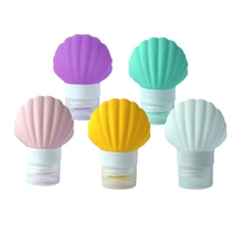 5 Pack Sea-Shell Silicone Travel-Bottles For Shampoo Conditioner Lotion - Portable Travel Liquid Container (90Ml)