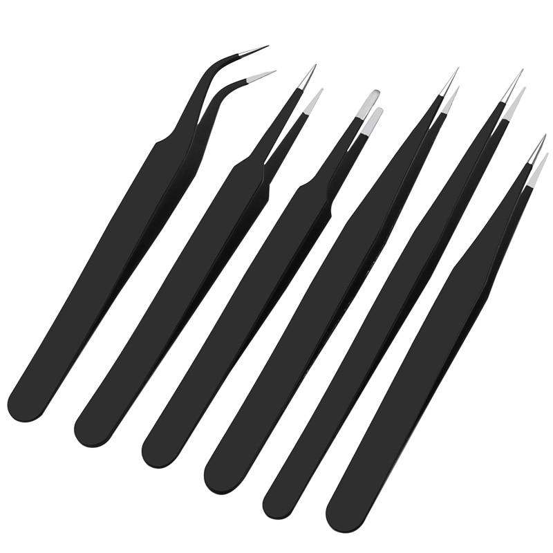 High Quality 6pcs BGA Precision ESD Tweezers Set All-metal Anti-static Tweezers Repair Tool