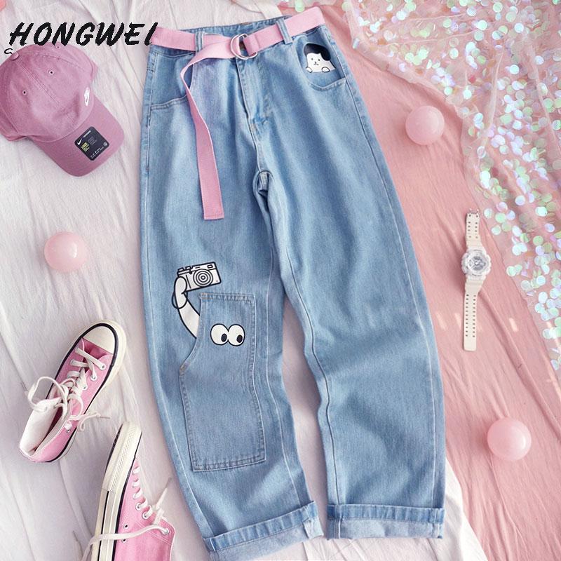 Harajuku Denim Wide Leg Pants Japanese Kpop Kawaii Prints Spring Summer Femme Cute Cats Straight Jeans Trousers