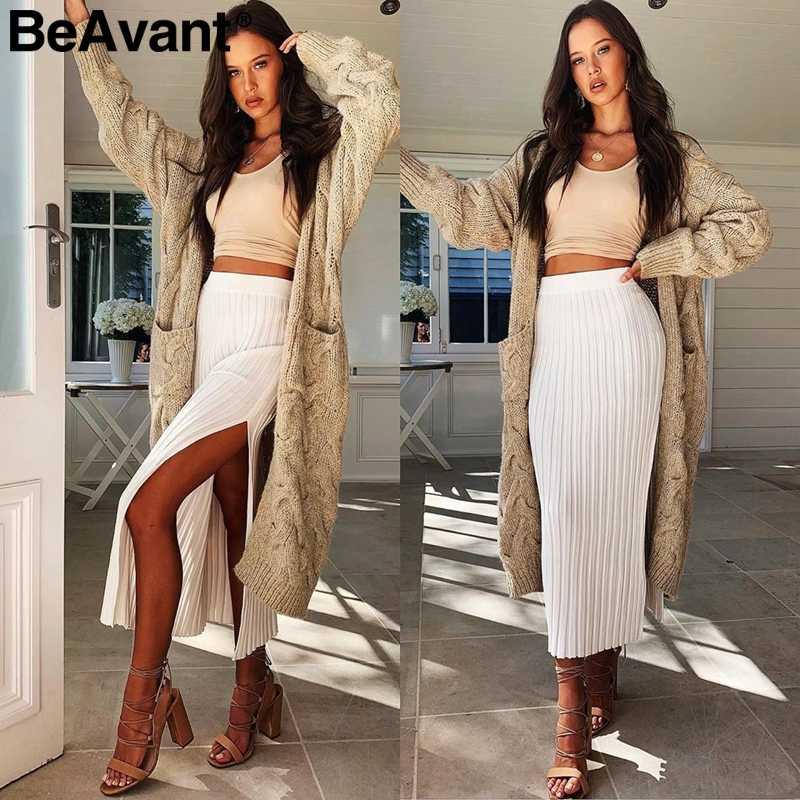 BeAvant long cardigan invierno mohair tejido suéter mujer manga larga Mujer jumper cardigan Casual streetwear pull femme 2019