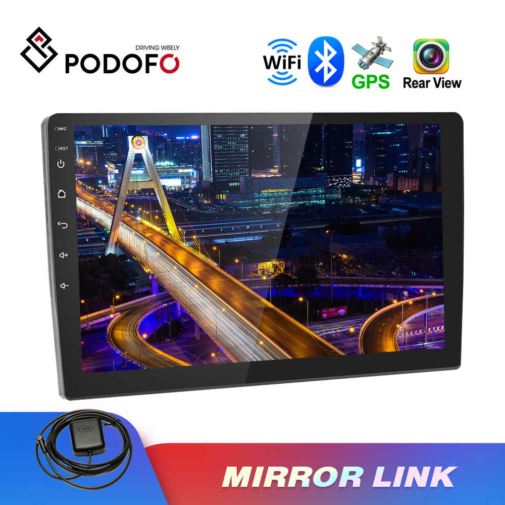 "Podofo 2Din Auto Radio 10.1 ""Hd Spiegel Link Auto Multimedia Bluetooth Autoradio 2.5D Gehard Glas Touch Screen Auto MP5 speler"