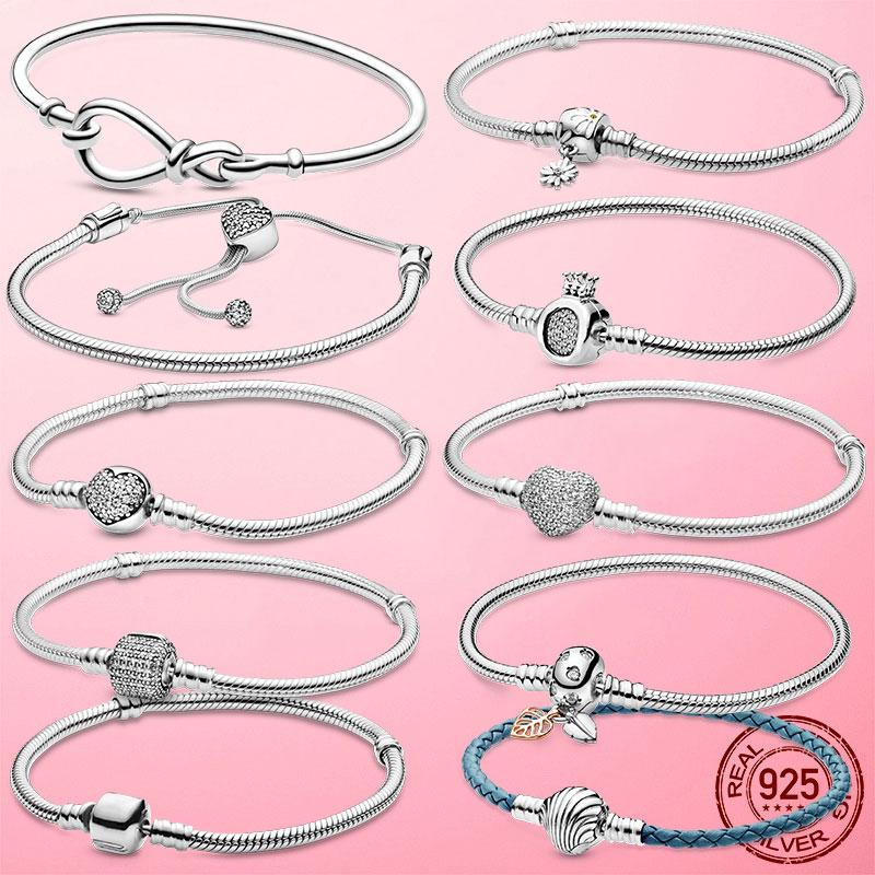 Bracelet en argent Sterling 925 pour femme, chaîne serpent, cœur, nœud infini, marguerite, fleur, fermoir, bijoux