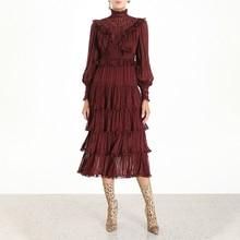 Новая мода лето осень простая водолазка с длинными рукавами-фонариками и высокой талией, плиссированное свободное платье с оборками для женщин N500