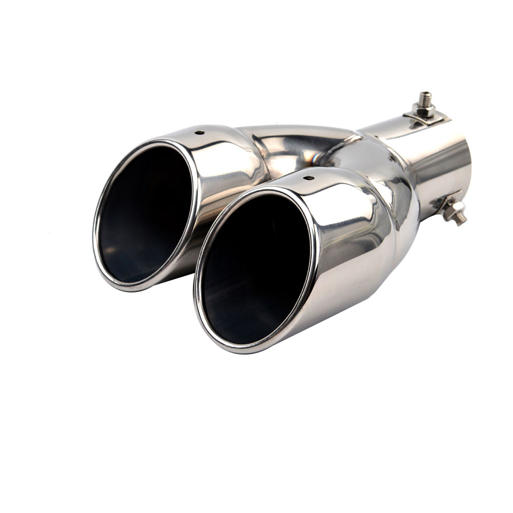 63mm Double Outlet Stainless Steel Chrome Car Muffler Exhaust Pipe Tip End Trim Modified Tail Throat Liner Pipe image